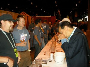 Head Brewmaster, Jason Oliver of DBBC (far left) during one of the judgings this past weekend.