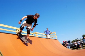 Photos By Tommy Stafford : ©2009 www.nelsoncountylife.com : Jason Oliver drops in the new half pipe after a dedication ceremony Saturday morning at RVCC. Click on any image for larger view.