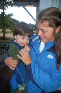 Adam just yesterday with his sitter and friend Mallory Crandall.