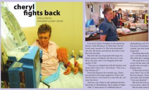 Cheryl pictured in our July 2009 article while undergoing one of her many chemo treatments at UVa in Charlottesville.