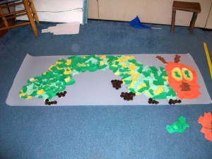 The Early Primary class at North Branch School created a mosaic of the cover art for The Very Hungry Caterpillar as part of the school's Read for the Record activities last week.