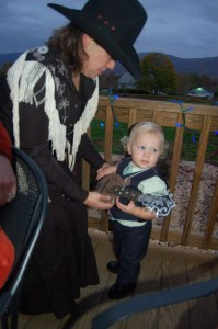Photos By Tommy Stafford : ©2009 www.nelsoncountylife.com : Up at Blue Mountain Brewery, mom Jan Smith Vogelgesang and son (Bill Monroe) Louis Vogelgesang dressed up for the night!