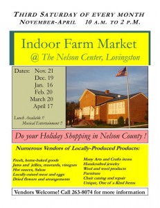Lovingston kicks off its first Indoor Farm Market this coming weekend. Click on flyer to enlarge for more details.