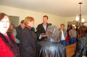 Jon Walmsley (Jason) chats with a fan inside the old Hamner house in Schuyler.