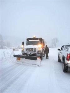 VDOT plow outsdie Devils Backbone on Rt. 151. (Heidi Crandall) Roseland, VA.  © 2009 NelsonCountyLife.com