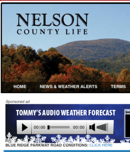 ©2009 www.nelsoncountylife.com : The newest addition to our NCL site. The BRP Road Report letting you know if sections of the parkway in Nelson are closed or open. Always linked just below Tommy's Audio Weather in the AM Fog box.