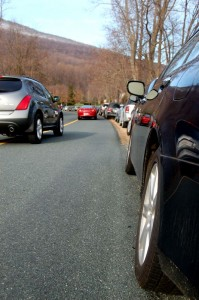 ©2009 www.nelsoncountylife.com : For as far as the eye could see, cars lined Monacan Drive in Stoney Creek at WPA's 2009 Christmas House Tour. Click any photo to enlarge.