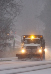 ©2009 www.nelsoncountylife.com : Photo By Tommy Stafford : A snowplow pushes snow off of Route 151 in Nelson County, Virginia just before dark Friday evening.