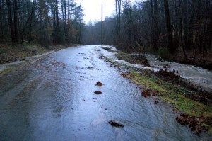 Water covered a large section of Blundell Hollow Rd. Monday morning.