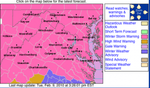 A Winter Storm Warning is now in effect. Click on the image for latest updates from NWS