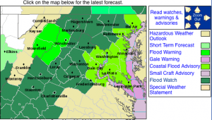 A Flood Watch is in effect for the areas highlighted in dark green, including Nelson, until early Monday morning. Click image for latest updates.