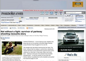 Image ©2010 www.roanoke.com : The Roanoke Times : Christina Floyd recently told her story about the night she and her friend were hit by a shotgun blast on the BRP. She lived, her friend did not. Click on image above to read their story.