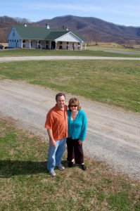 Photo By Tommy Stafford : ©2010 www.nelsoncountylife.com : Jeff & Tamara Stone stand in front of The Verandah recently completed at Wintergreen Winery.