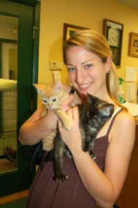 ©2007-2010 www.nelsoncountylife.com : Caitlin Mixter of Charlottesville with two cats she adopted from Almost Home back in 2007.