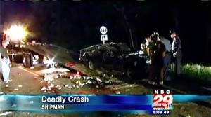 Image ©2010 : Courtesy of www.nbc29.com : The accident scene Thursday night in Shipman where Mary Beth Sprouse lost her life.