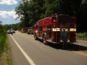 Several different fire departments responded to the call on Route 250.