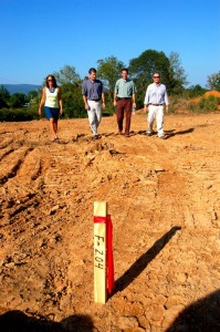 Robin Meyer (left) the architect for the project, along with Dr. Stephen Schmitz, Dr. Charles Cole, (physicians at Afton Family Medicine) and  Jim Gates, the general contractor of the project, walk the grounds of the area where the new clinic will be constructed at the intersection of Tanbark Drive and Route 151.