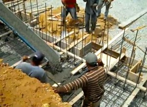 Concrete being poured at VDC in July 2010.