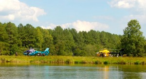 In addition to the day of fun, helicopters from three different air emergency services landed at the volunteer day. Two of the three choppers landed on the dam seen here at Lake Monacan.