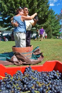 Photo By Tommy Stafford : ©2010 www.nelsoncountylife.com : This couple did the, LUCY, grape stomping Saturday afternoon at Wintergreen Winery's annaul Romp, Stomp and Chomp. The popular event continues on Sunday. Click and photos to enlarge.