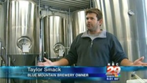 Screen grab courtesy of NBC-29 Charlottesville : Blue Mountain Brewey co-owner, Taylor Smack, talks to NBC-29 about craft beers in a recent story.