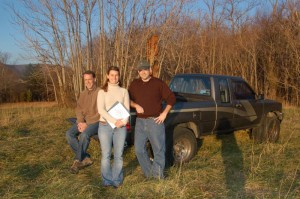 Matt, Mandi & Taylor standing in an open field in December of 2006. This is the location that would eventually become Blue Mountain Brewery today.