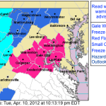 Various Freeze Warnings & Watches Nearby & Mountains Along BRP