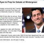 Paul Ryan to Prep for Debate at Wintergreen