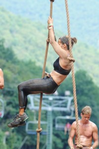 ©2013 Blue Ridge Life Magazine : Photos By BRLM Mountain Photographer Paul Purpura : Monica Vieira of Crozet climbs the ropes nearing the end of the Spartan Race 2013 at Wintergreen, VA this past Sunday afternoon - August 25, 2013