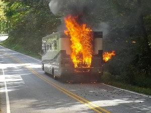 ©2013 Blue Ridge Life Magazine: Photo Courtesy of Bob Clouston : This RV caught fire just about a mile from the Blue Ridge Parkway on Sunday - September 29, 2013. It was above Montebello, VA