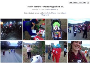 To see all of the pics from Saturday - October 26, 2013 Trail of Terror II, click on our Facebook album shot above.
