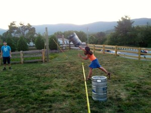 ©2013 Blue Ridge Life Magazine : Though she didn't come in first, BRLM Publisher Yvette Stafford tried her hand at the annual keg toss held this past Wednesday at Blue Mountain Brewery in Afton, VA. It's part of their week long Oktoberfest that continues through Sunday - October 6, 2013
