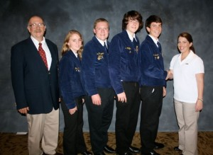 The National Meat Evaluation and Technology sponsors from Cargill International Corporation  left to right Mr. Ed McCann FFA advisor, team coach, Jenny Elgin, Ben Fitzgerald, Zach Phillips, Phillip Saunders, national sponsor from Caregill International.