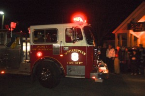Santa arrived in style a few nights ago at Stoney Creek in Nellysford, VA. The Wintergreen Fire Department gave him a ride in one of their fire trucks.