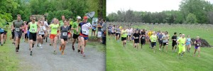 "©2014 Blue Ridge Life : Photos By BRL Mountain Photographer Paul Purpura : On the left folks take to the trails this past Saturday afternoon during the Devils Backbone Adventures Steeplechase Run For The Hops."" On the right this past Friday evening - May 9, 2014 when people hit the trail through the vineyard at Cardinal Point Winery for the Corkscrew Rockfish Red 4Miler."