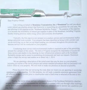 Page 1 of the pipeline letter many area Nelson residents have been receiving via certified mail. Click on image to enlarge.