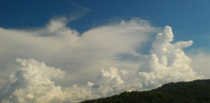 Photo By Ann Strober : Ann grabbed this stunning photo of thunderstorms forming over the Blue Ridge Saturday afternoon - September 6, 2014. The storms ushered in cooler temps with less humidity.