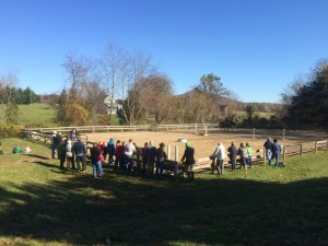 People watch one of several demonstrations put on at the Rodes Farm Open House held - Sunday  - November 2, 2014