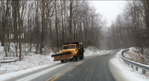 A VDOT truck spread salt on Route 151 just north of Brent's Gap in Nelson County -  Monday afternoon : February 16, 2015.