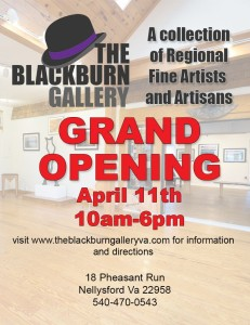 Thoug already open, the official opening of the The Blackburn Gallery will be on April 11, 2015. Click to enlarge flyer.
