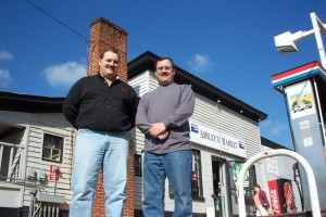 Our very first issue included two people that still remain some of our favorites today! Steve Patrick (L) and broither Barry stand in front of the original Ashley's Market. The store has since been replaced with a modern pay at the pump variety!