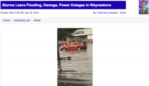 Screengrab courtesy of WHSV television Harrisonburg : By far one of the worst areas hit was Waynesboro with flooding in some parts of the city. Click on the image above to read more from WHSV.