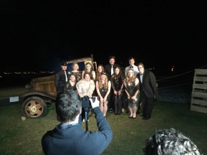 ©2015 Blue Ridge Life Magazine : Photo BY Tommy Stafford : The crew at Silverback Distillery in Afton, Virginia poses Saturday night - December 12, 2015 in front of a moonshiner's truck as part of their Prohibition Party held over the weekend.