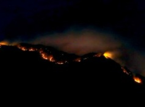Photo By Sandy Berry : Fire still burning at St. Marys in Vesuvius, Virginia just before 10PM Thursday night - March 17, 2016.  Photo taken near Raphine.