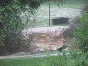 "Rebecca Jean Waters in Bryant said, ""Horse field, turned into temporary water fall."""
