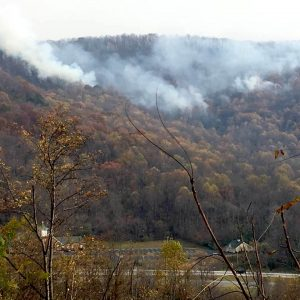 Photo Courtesy of Frank Wood : Fire continues burning on the mountainside above St. Mary's Catholic Church just north of Lovingston around noon Tuesday - November 22, 2016.