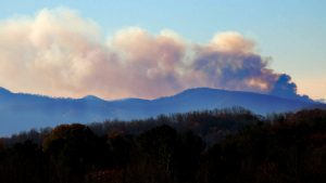 Photo By Jeff Hellerman : Early Monday morning smoke could still be seen billowing from a mountain just north of Lovingston in Nelson County. Jeff took this photo of Lovingston fire smoke seen from Afton at 8:30am : November 21, 2016.