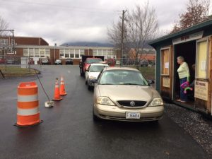 Photo By Victoria Jenkins : Folks park in front of the Re-Use Shed at the Rockfish Valley location before it was closed last week by the county.