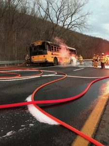 1-13-17 I64 School Bus Fire Albemarle County II