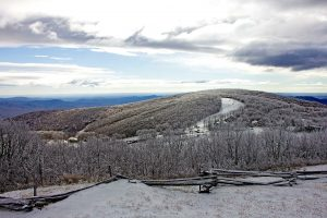 Thanks to Dima Holmes of Wintergreen Real Estate's Mountain Office for these photos. - Snow covers Wintergreen Resort as seen from the overlook above - Tuesday - January 24, 2017